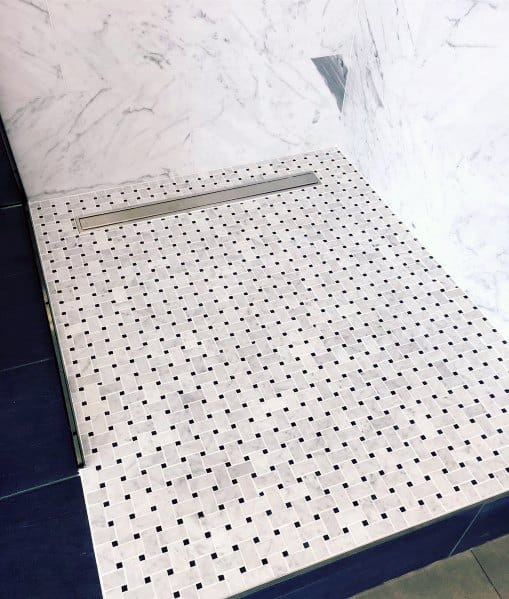 White Marble Navy Blue Accent Awesome Shower Floor Tile Ideas
