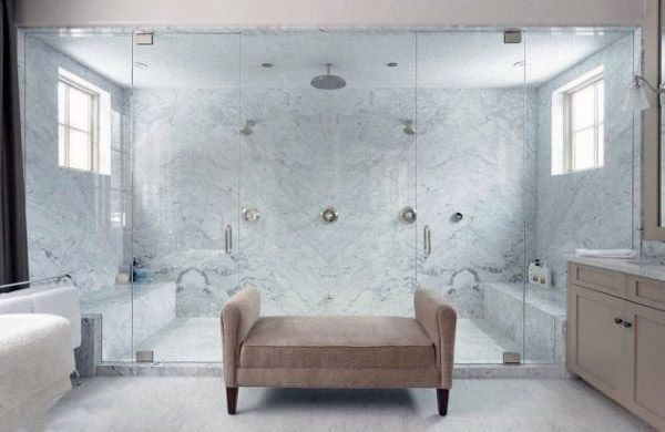 White Marble Tile Cool Showers Ideas