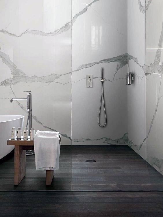 White Marble Walls Modern Shower Design