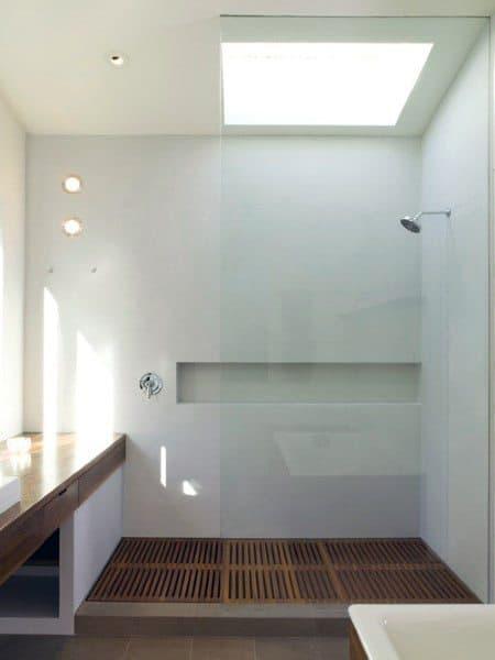 White Marble Wood Slat Flooring Cool Bathrooms Ideas