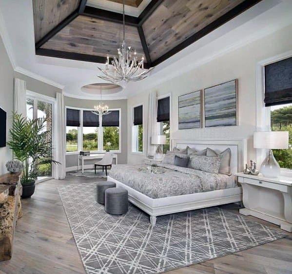 White Master Bedroom Ideas With Vaulted Wood Ceiling