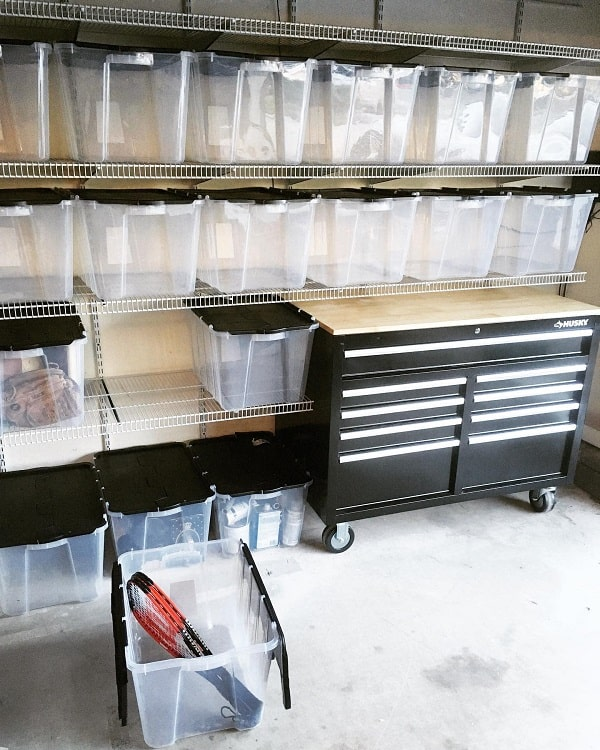 White Metal Clear Bins Garage Shelves Woodwaterwire
