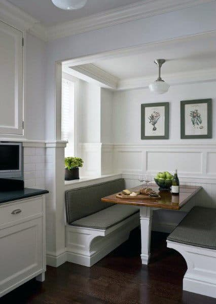 White Millwork Molding Breakfast Nook
