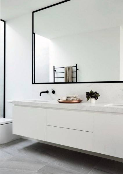White Minimalistic Modern Home Interior Bathroom Vanity