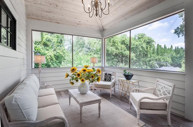 White Motif Screened In Sun Porch Petruccihomes