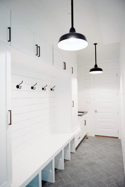 White Mudroom Shiplap Wall