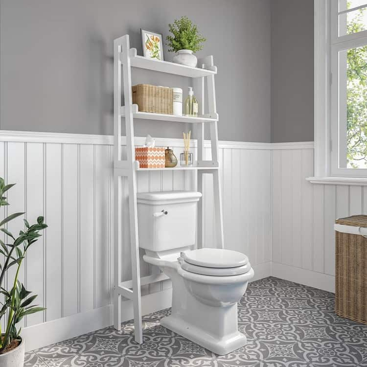 White Open Toilet Shelves Riverridgehome