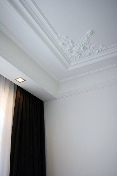 White Ornate Trey Ceiling Crown Molding Ideas