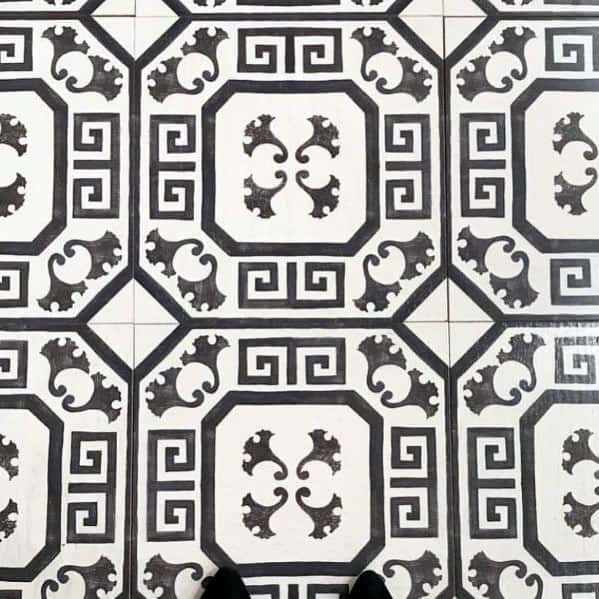 White Over Hardwood Ornate Pattern Floor Painting Ideas