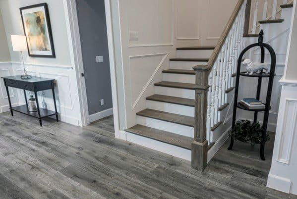 White Paint And Oak Cool Basement Stairs