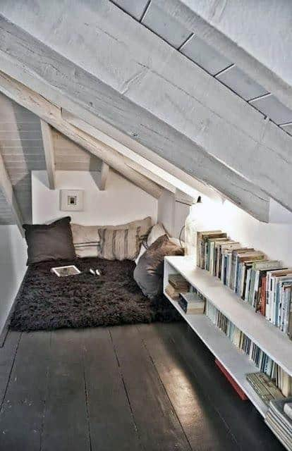 White Paint Attic Home Library Designs
