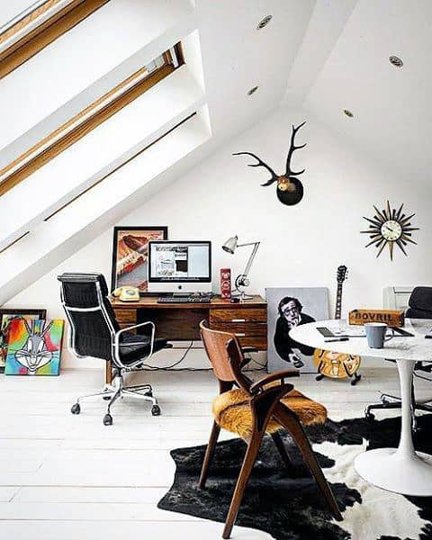 White Paint Attic Office Cool Man Cave Ideas