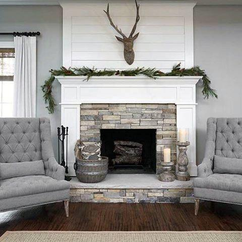 White Paint With Stone Fireplace Mantel Design