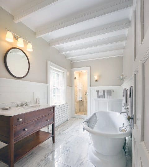 White Painted Beams Bathroom Ceiling Finishes