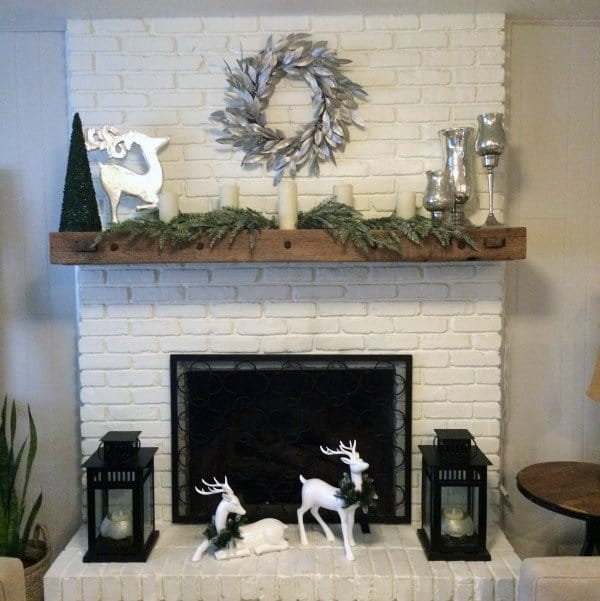White Painted Brick Fireplace Mantel Design