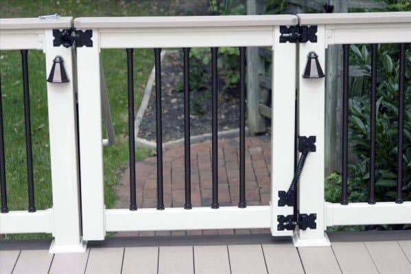 White Painted Deck Gate Cool Backyard Ideas With Round Black Balusters