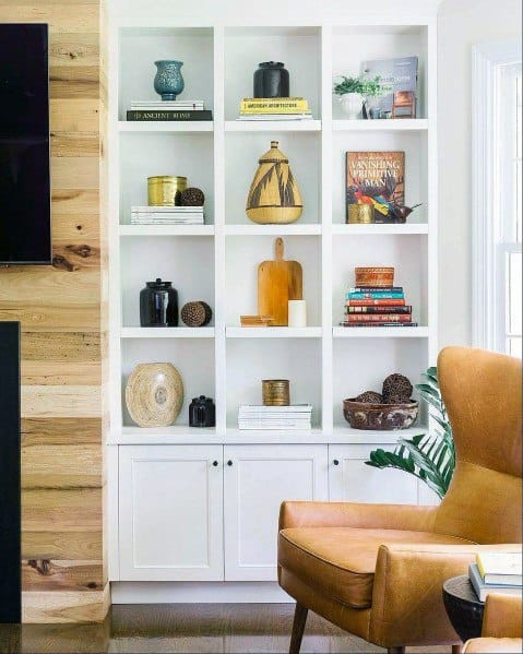 White Painted Designs For Built In Bookcase