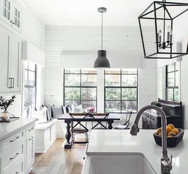 White Painted Farmhouse Rustic Themed Kitchens