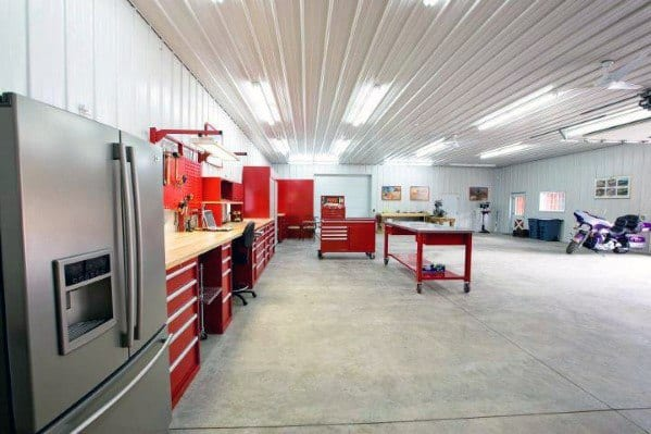 White Painted Metal Sheeting Garage Ceiling Ideas