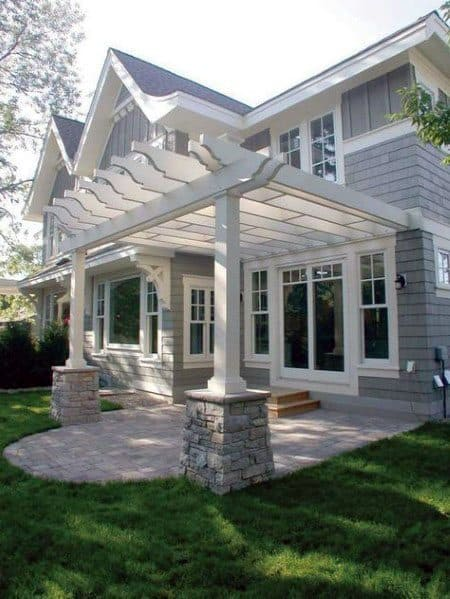 White Painted Pergola Roof Ideas Over Stone Patio