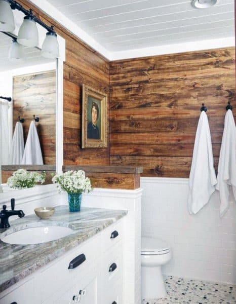 White Painted Shiplap Bathroom Ceiling Ideas