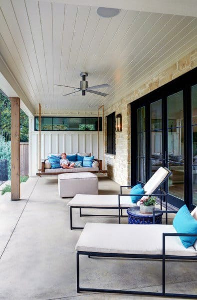 White Painted Wood Board Porch Ceiling Ideas