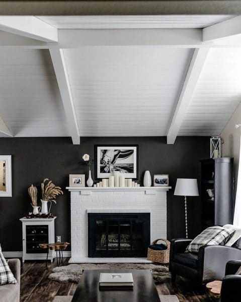White Painted Wood Ceiling Ideas For Living Room