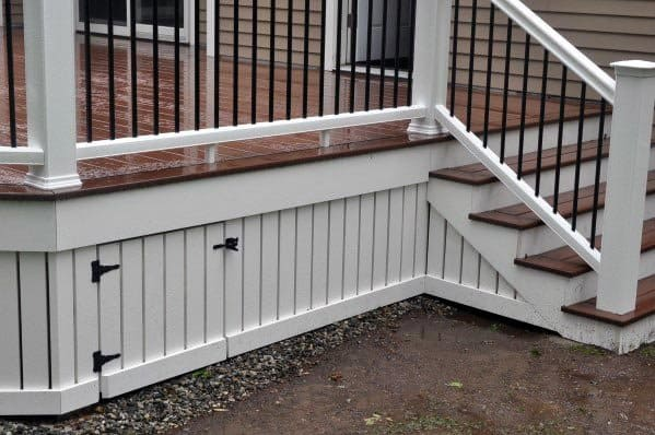 White Painted Wood Deck Skirting With Mini Hinged Gate