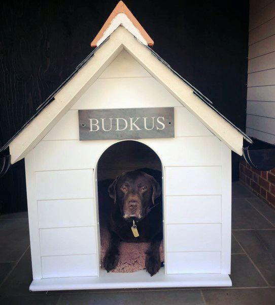 White Painted Wood Dog House Ideas