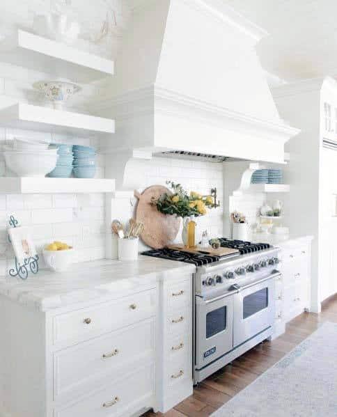 White Painted Wood Kitchen Hood