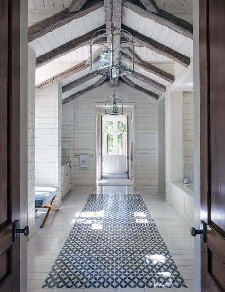White Painted Wood With Beams Bathroom Ceiling Ideas