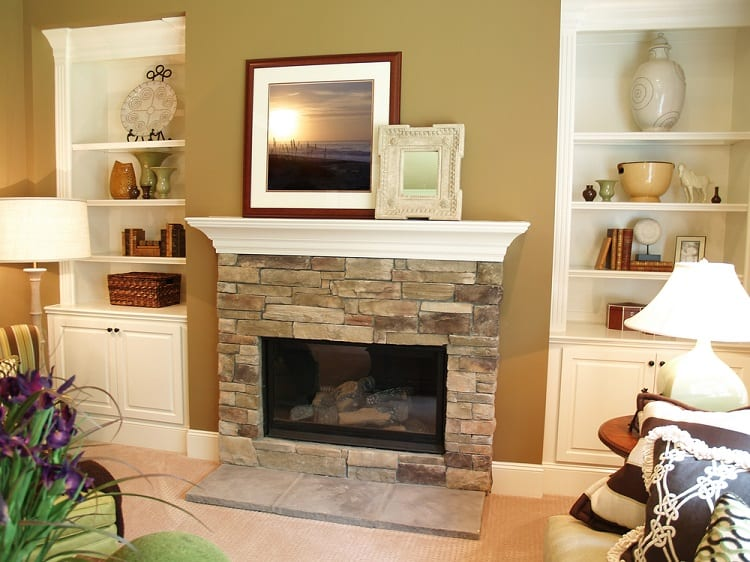 White Painted Wooden Mantel Decor Ideas