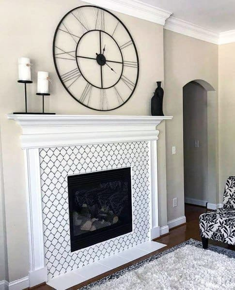 White Pattern Painted Fireplace Home Designs