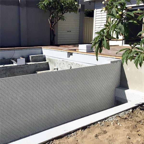 White Pattern Tile Ideas For Backyard Swimming Pool