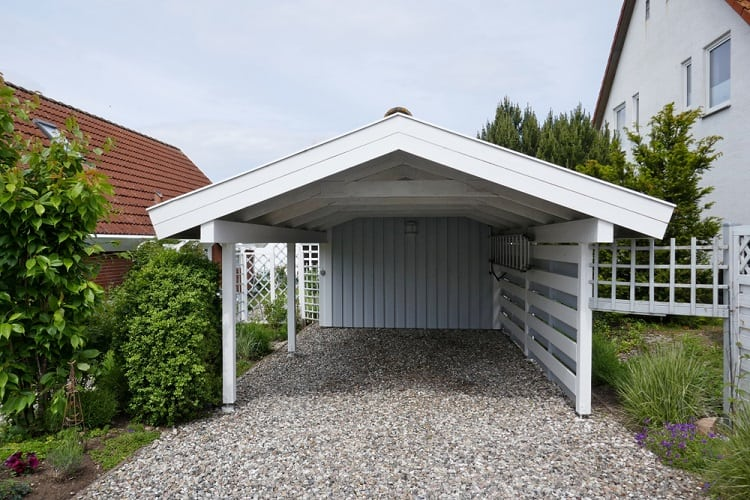 White Pitch Roof Wooden Small Carport