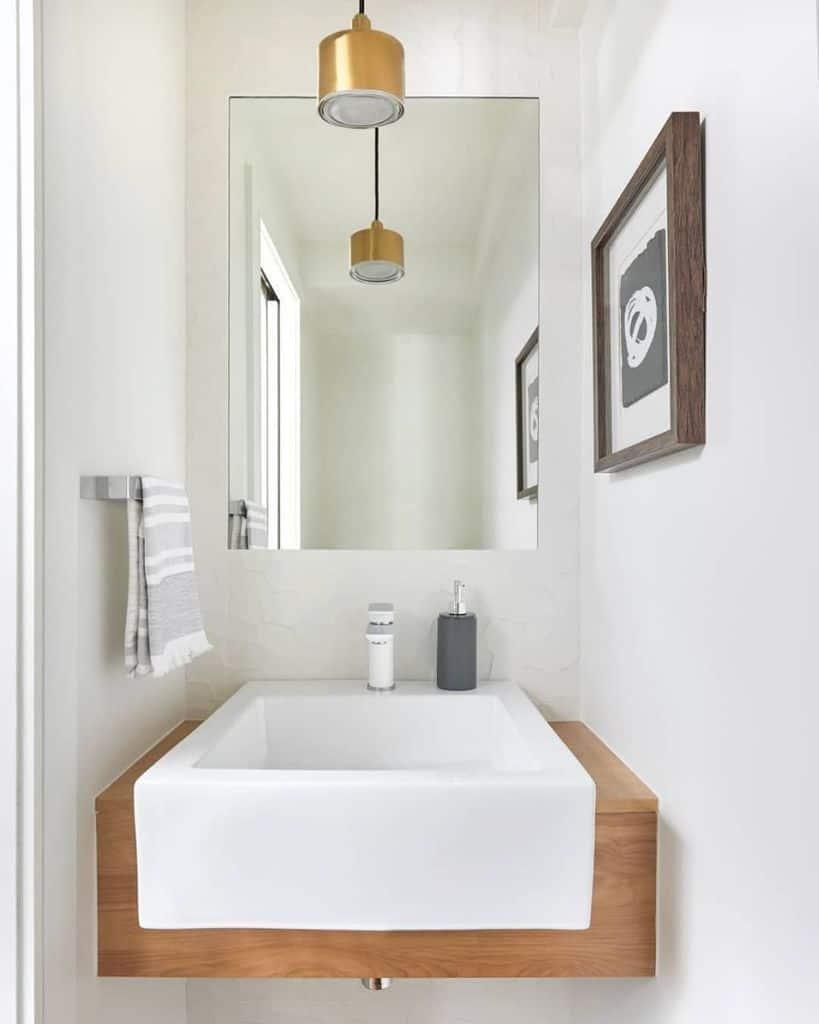 White Powder Room Ideas 2birdsdesign