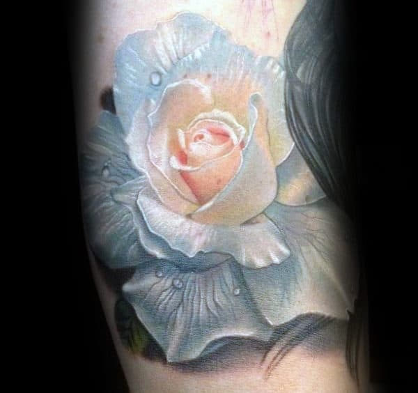 White Realistic Rose Flower Mens Arm Tattoos