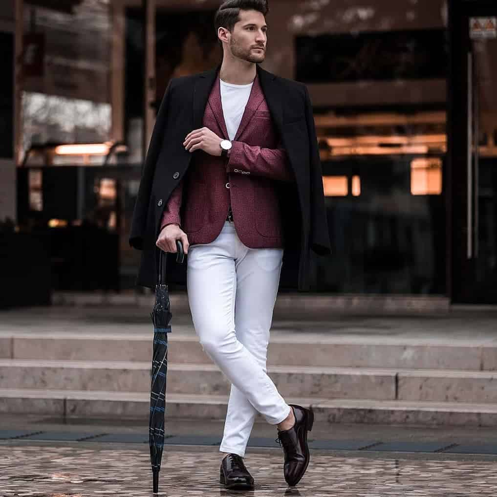 White Red Suit Classy Style