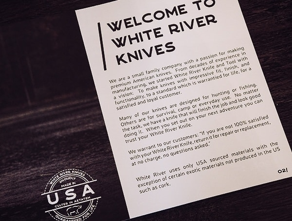 White River Knife And Tool Welcome Letter