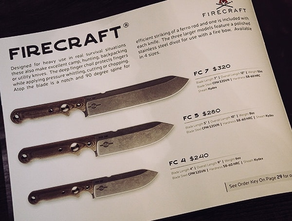 White River Knives Firecraft Collection Blade Sizes