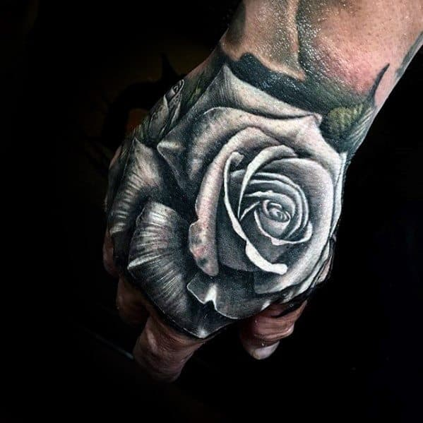 White Rose Flower Realistic Unique Hand Tattoos For Guys