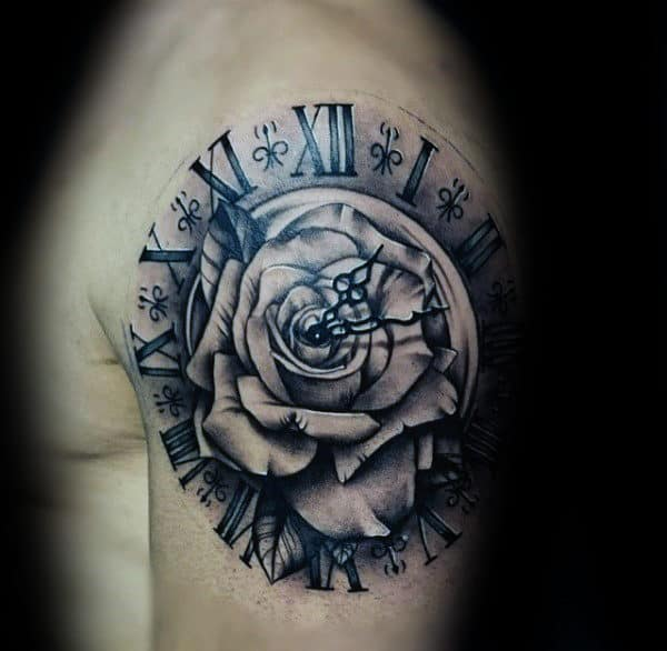 White Rose Flower With Clock Hand Gears Guys Roman Numeral Upper Arm Tattoos