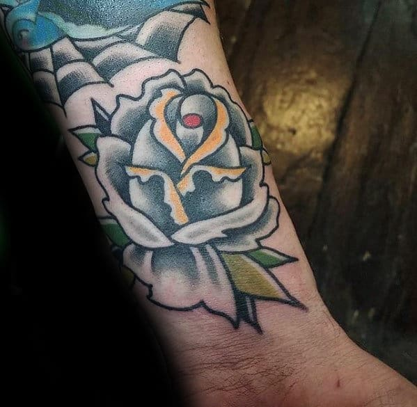 White Rose Small Guys Traditional Flower Wrist Tattoo