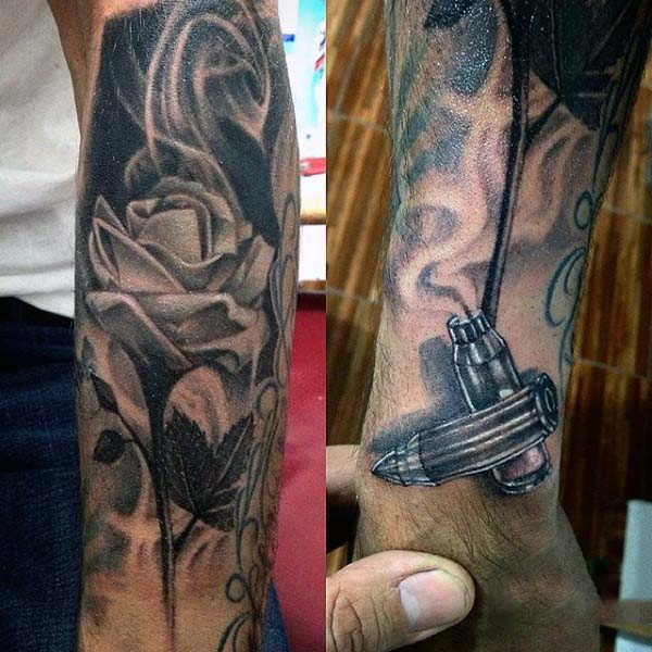 White Rose With Bullet Smoking Mens Wrist Tattoo Inspiration