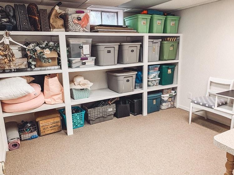 White Shelf Bins Basement Storage