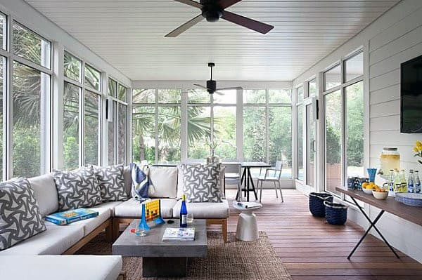 White Ship Lap Ceiling Traditional Home Sunroom Ideas
