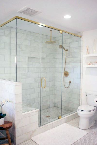 White Shower Flooring Tile Ideas