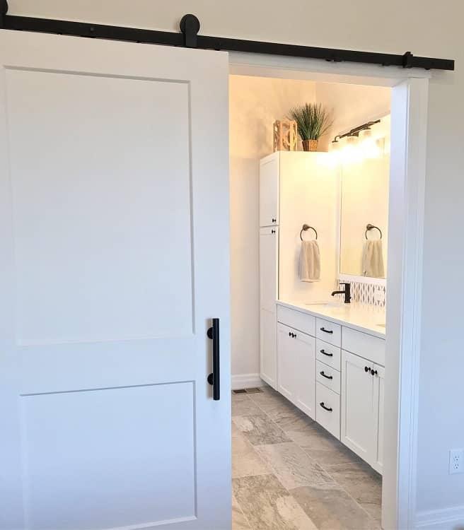 White Simple Bathroom Barn Door