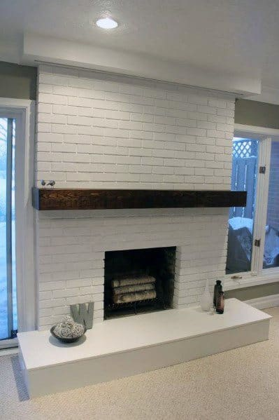 White Simple Painted Fireplace
