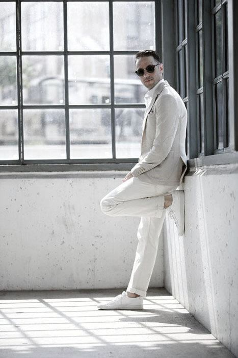 White Sneakers With Pants And Blazer All White Outfits For Men